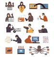 Internet Security Hackers Flat Icons Set vector image vector image