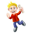 jumping happy man and scroll vector image vector image