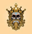 king crown skull dia de los muertos logo gold vector image