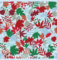 leaves and flowers winter seamless pattern vector image vector image