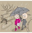 Loving couple walking park in rain Autumn weather vector image