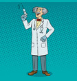 mad doctor with syringe pop art vector image
