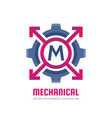 mechanical letter m - logo template concept vector image