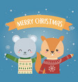 merry christmas celebration bear and squirrel with vector image vector image