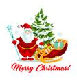 merry christmas santa gifts sleigh tree vector image vector image