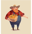 Middle aged man-farmer wearing denim with bucket vector image