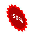 minus 50 percent sale red emblem icon isometric vector image