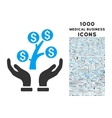 money tree care hands icon with 1000 medical vector image vector image