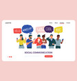 people with phones landing page social vector image vector image
