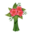 Pink roses bouquet icon isometric 3d style vector image vector image