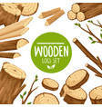 poster design with set wooden logs vector image vector image