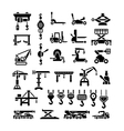 Set icons of lifting equipments cranes winches vector image vector image