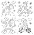 set isolated coloring cute unicorn vector image vector image