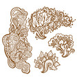 set of henna tattoo floral ornaments vector image vector image