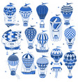 set of hot air balloons isolated on white vector image