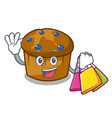 shopping mufin blueberry character cartoon vector image vector image