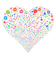 sms fireworks heart vector image vector image