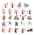Sports Athletes Men Icons Set vector image vector image