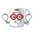 super hero character toilet paper rolled on wall vector image vector image