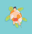 top view persone floating on air mattress vector image