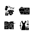 types video black glyph icons set on white vector image vector image