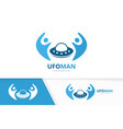 ufo and people logo combination spaceship vector image