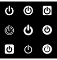 white shut down icon set vector image