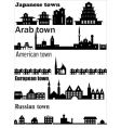 detailed skylines of different towns vector image