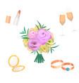 flowers bouquet wedding bride vector image