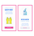 banners about research and safety vector image