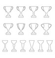 set of contours of award cups and trophies vector image