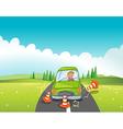 A boy in a green car bumping the traffic cones vector image vector image