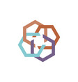 abstract hexagon business logo white background vector image vector image