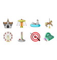 amusement park icons in set collection for design vector image vector image