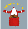 Bad evil Santa Claus Amoral Santa with cigar Red vector image