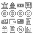 banking and finance icons set line style vector image vector image