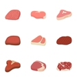 Beef icons set cartoon style vector image