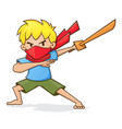 boy holding wooden sword playing ninja vector image