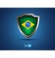 brazil flag shield on blue background vector image