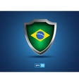Brazil flag shield on the blue background vector image vector image