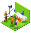 broadcasting isometric composition vector image vector image