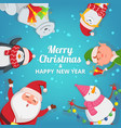 christmas background with funny characters design vector image vector image