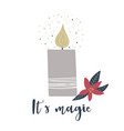 christmas holiday greeting card with candle vector image vector image