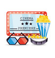 cinema ticket with popcorn and 3d glasses vector image vector image