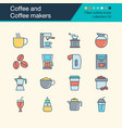 coffee and makers icons filled outline vector image