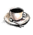 Colored hand drawing coffee cup vector image vector image