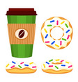 colorful cartoon donut and coffee set vector image