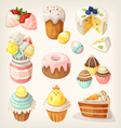 Colorful food for Easter party vector image vector image