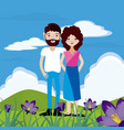 couple at nature vector image