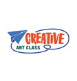 creative art class flat logotype talented vector image